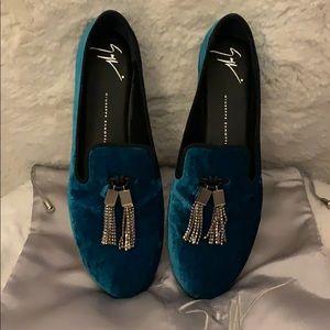 GIUSEPPE ZANOTTI ⚜️ Teal Velvet Tassel Shoes